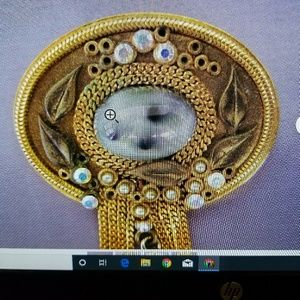 Vintage Jewelry - Vintage | Goldtone | Retro Brooch with Chains